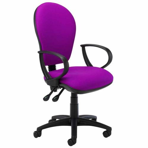 Purple desk chair with black ring arms and swivel base