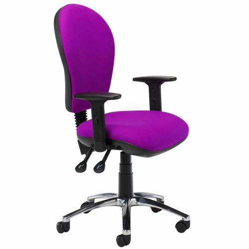 Purple desk chair with black arms and swivel base