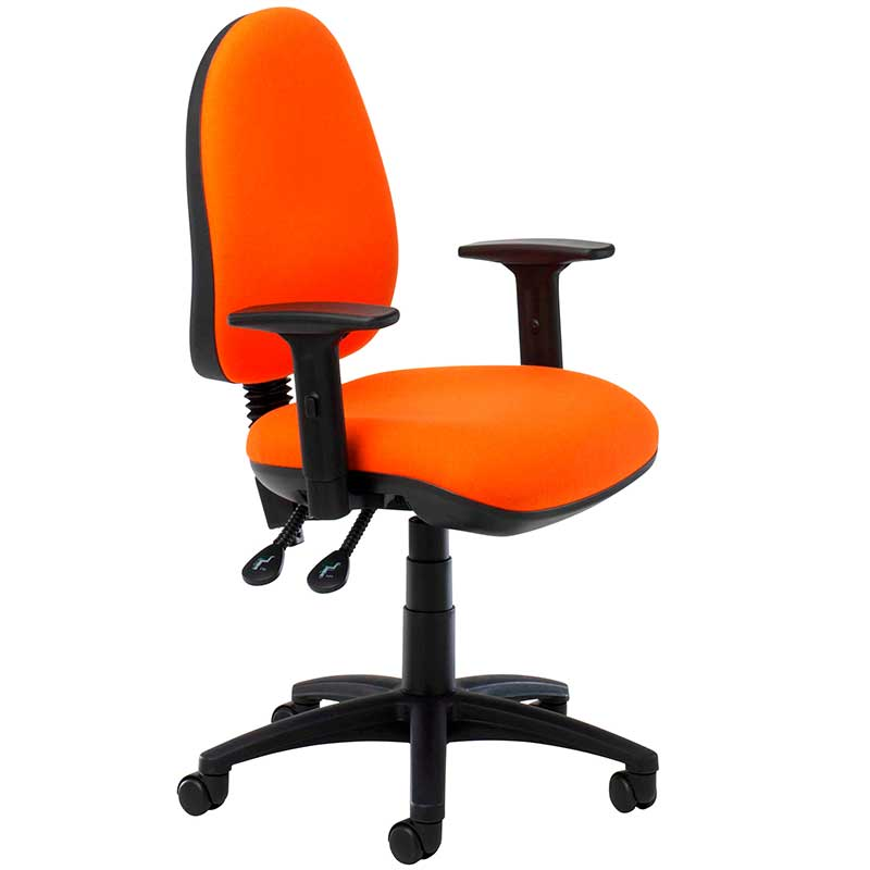 Orange desk chair with black arms