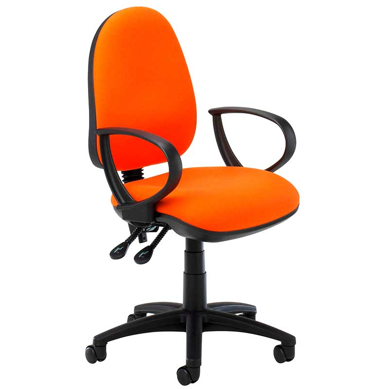 Orange desk chair with black ring arms