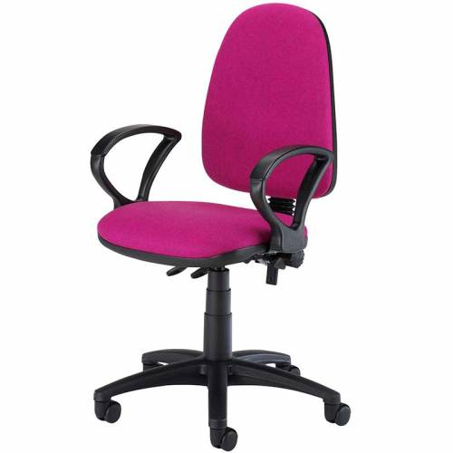 Pink desk chair with ring arms and swivel base
