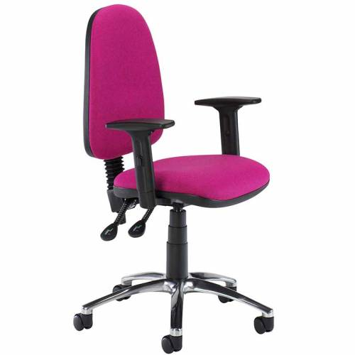 Pink desk chair with black arms and swivel base
