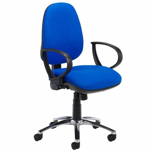 Blue desk chair with black ring arms