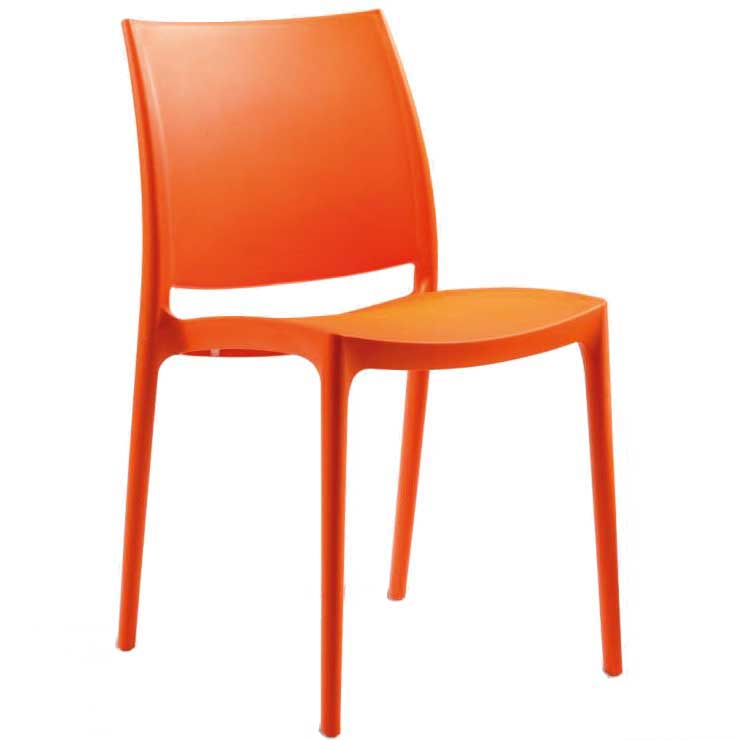 Orange chair with hard seat and back