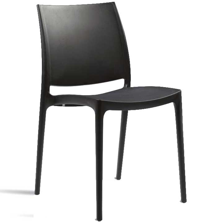 Black chair with hard seat and back
