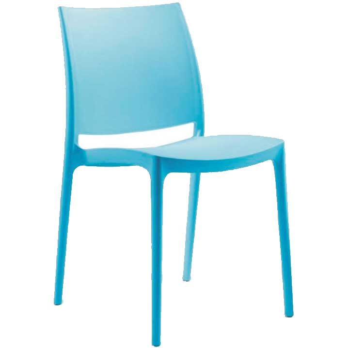 Blue chair with hard seat and back