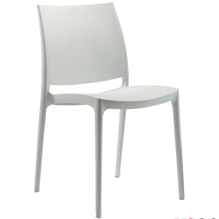 White chair with hard seat and back