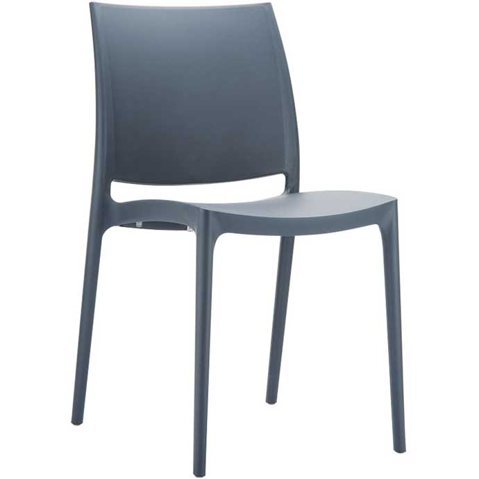 Blue-grey chair with hard seat and back