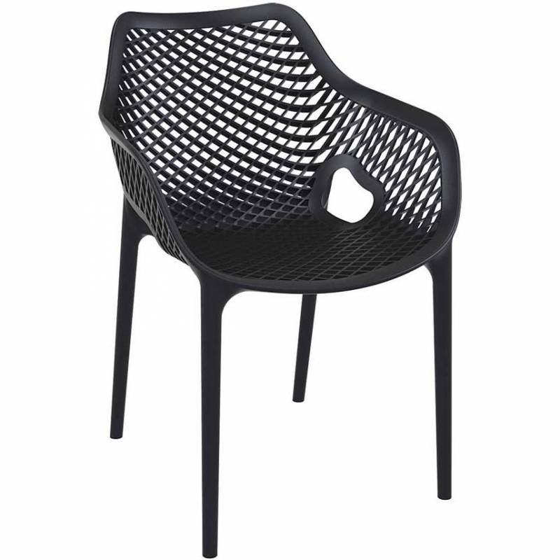 Black chair with mesh effect on seat and back