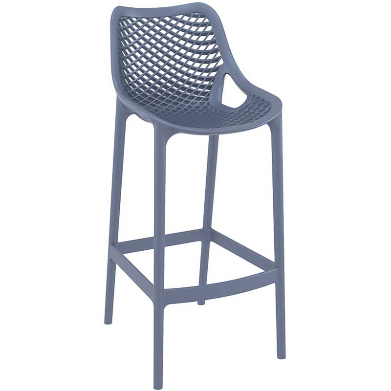 Anthracite bar stool with mesh effect on seat and back