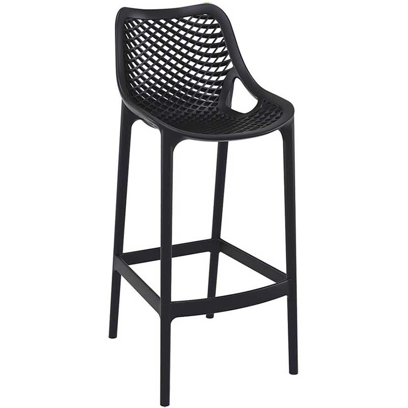 Black bar stool with mesh effect on seat and back