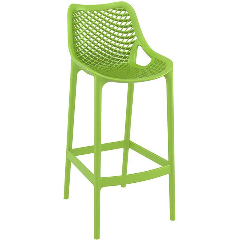 Green bar stool with mesh effect on seat and back