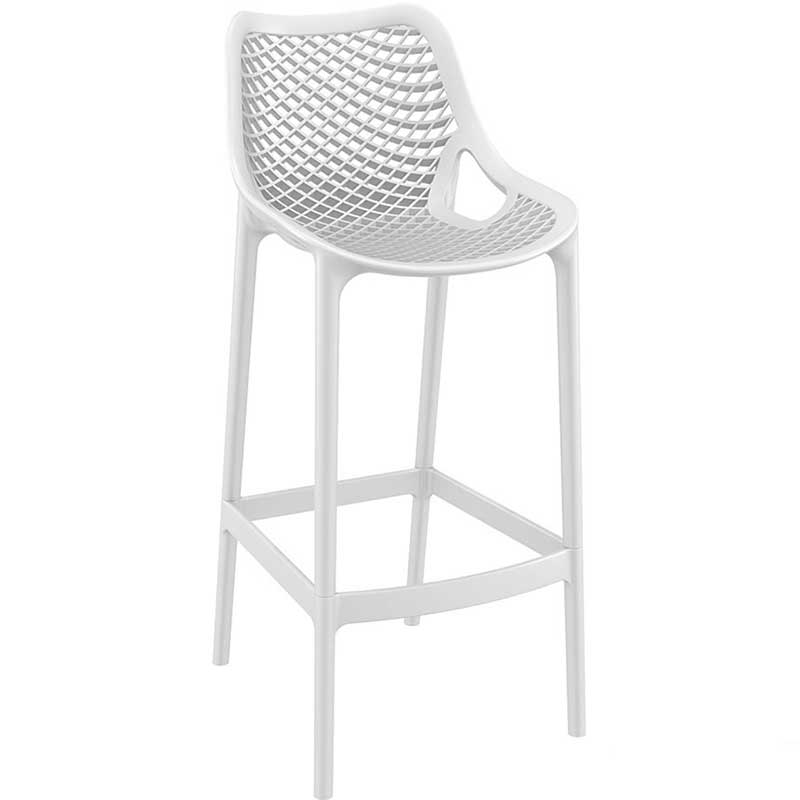 White bar stool with mesh effect on seat and back