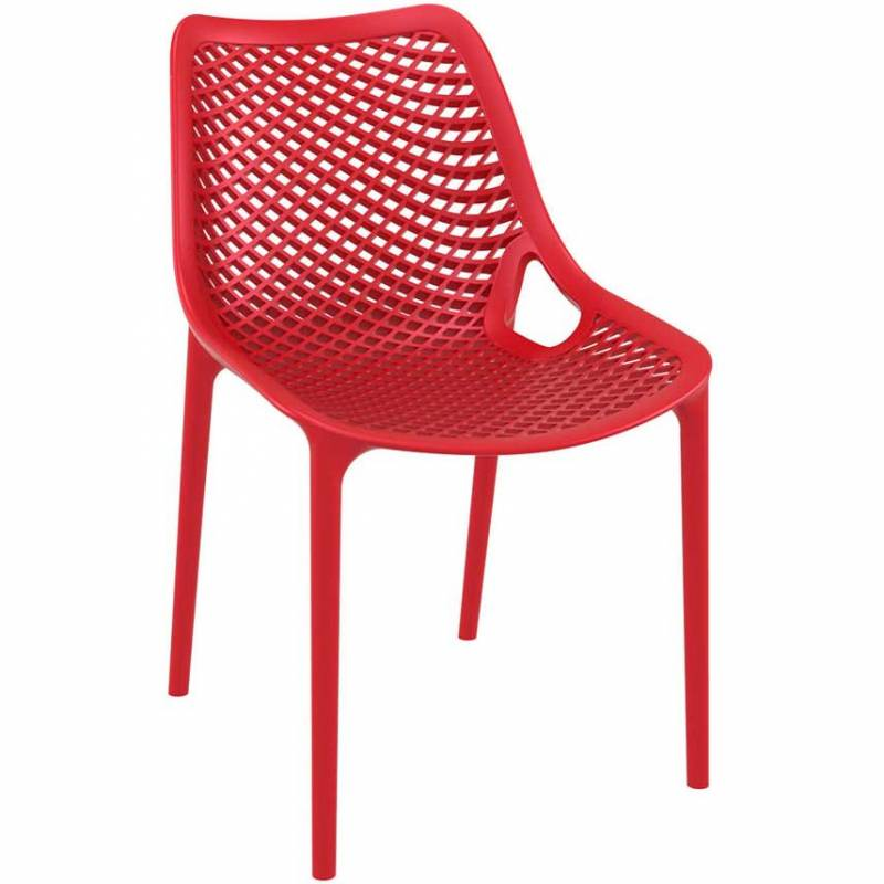 Red chair with mesh effect on seat and back