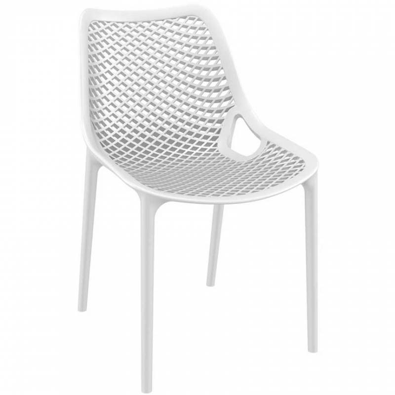 White chair with mesh effect on seat and back