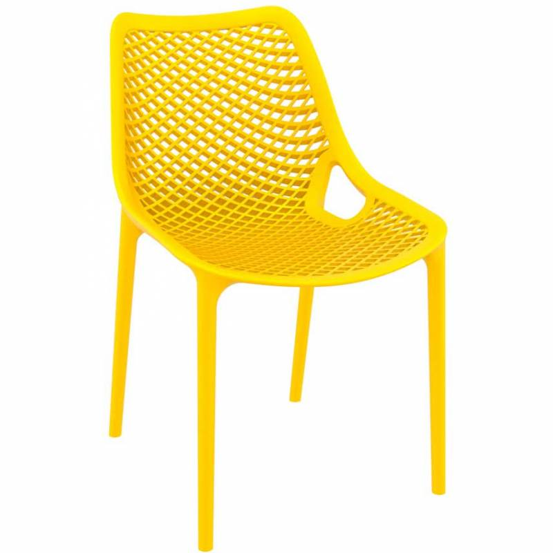 Yellow chair with mesh effect on seat and back