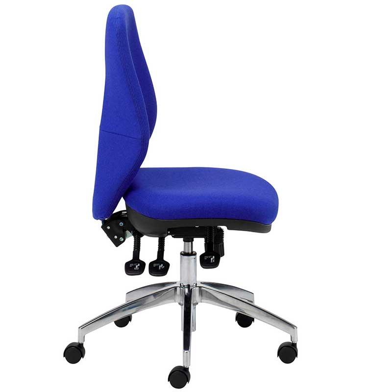 Blue desk chair with chrome swivel base