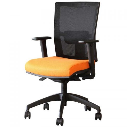 Desk chair with orange seat, black mesh back and black base