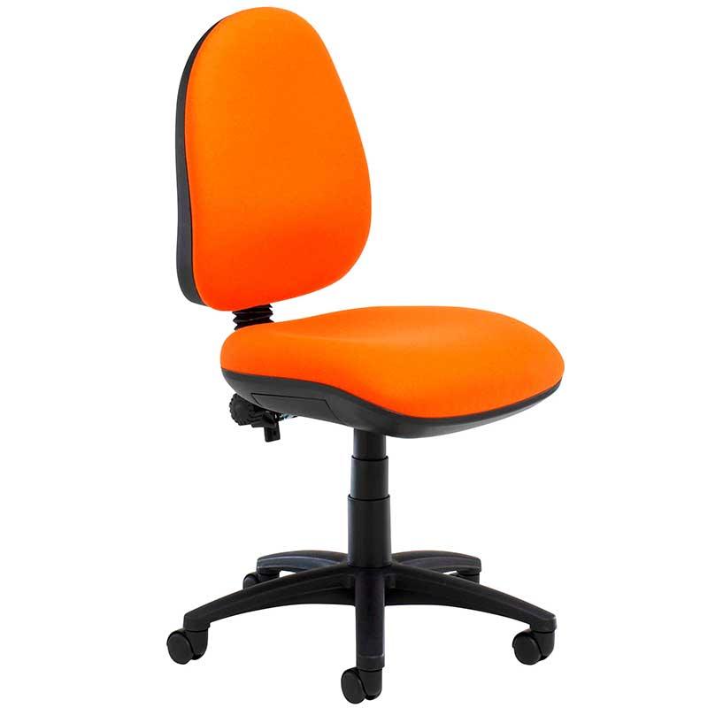 Orange desk chair with black swivel base
