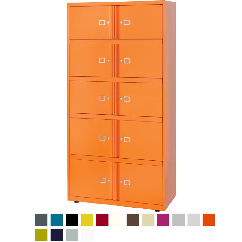 Orange filing storage unit with 10 doors