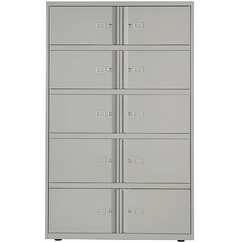 Grey filing storage unit with 10 doors
