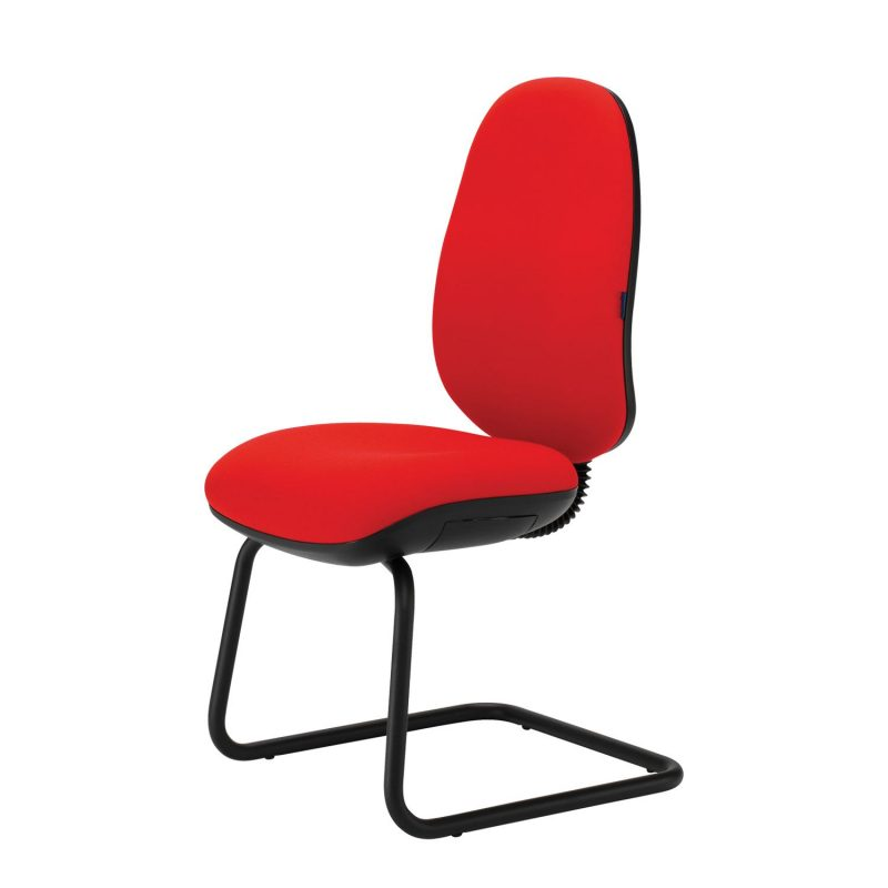 Red high backed meeting chair