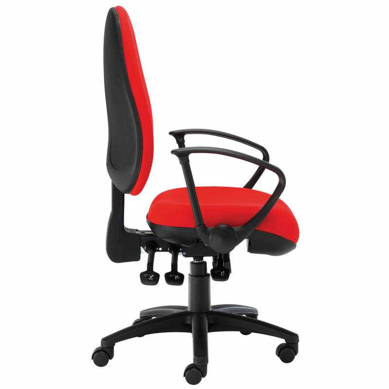 Red desk chair with swivel base