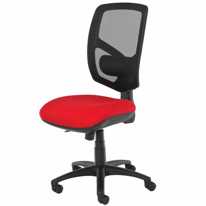 Red chair with black mesh back