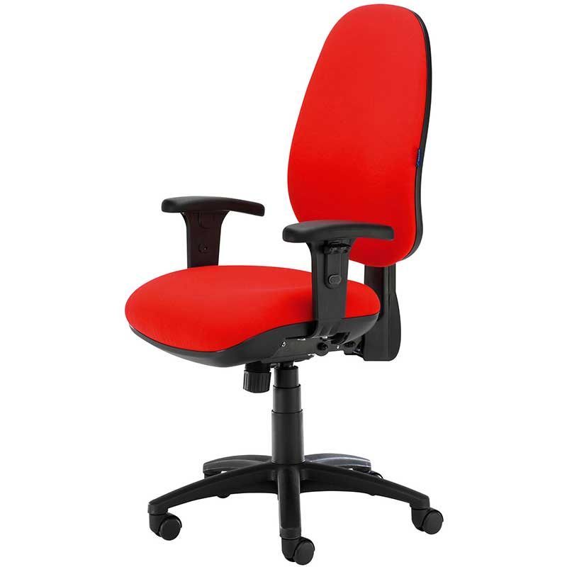 Red desk chair with black arms and swivel base