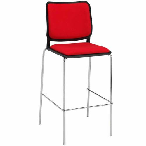 Red and black stool with backrest and chrome legs