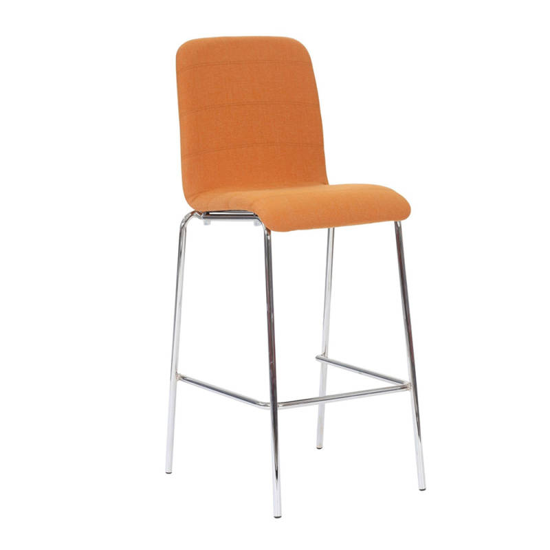 Ultra high chair with chrome legs and orange upholstery