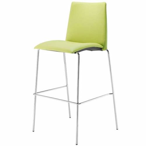 Lime green stool with backrest and chrome legs