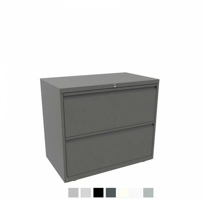 Grey filing cabinet with 2 drawers