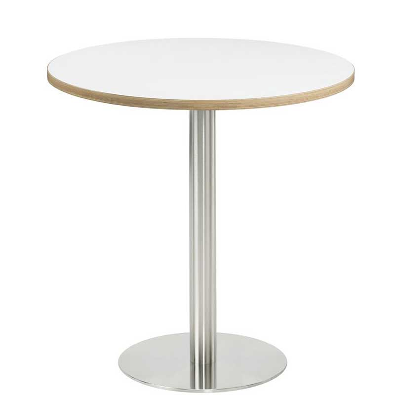 Round coffee table with white top and chrome leg and base