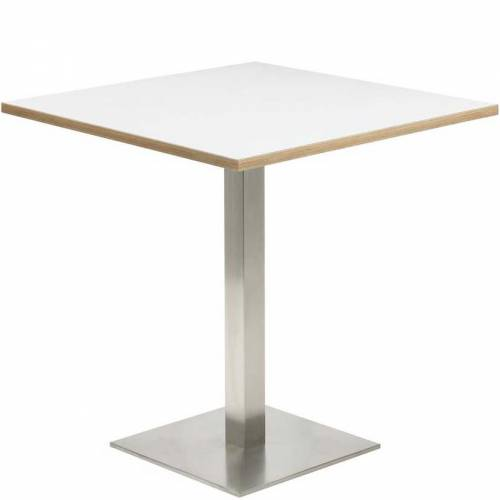 Square coffee table with white top and chrome leg and base