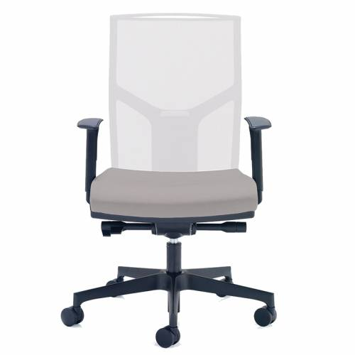 White desk chair with mesh back and black base