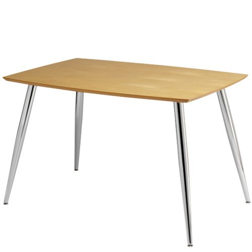 Rectangular wooden table with chrome legs