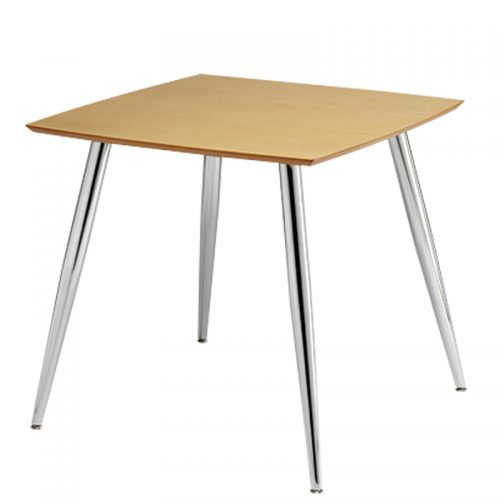 Square wooden table with chrome legs