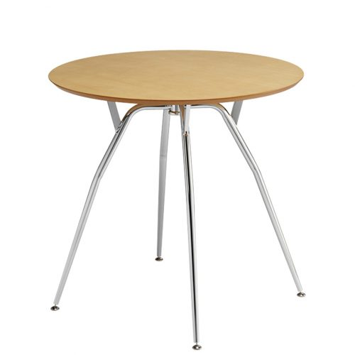 Circular wooden table with chrome legs