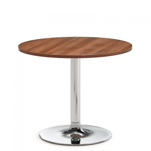 Circular coffee table with wooden top and chrome base