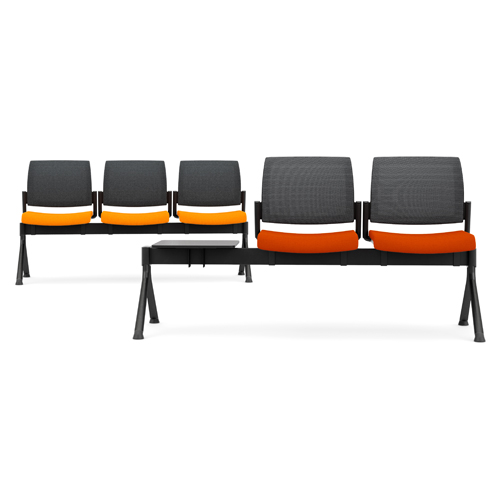 Orange and black beam seating