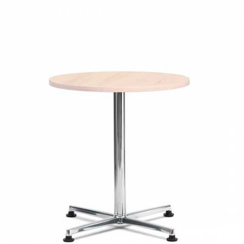 Circular bistro table with pale wood top and chrome base