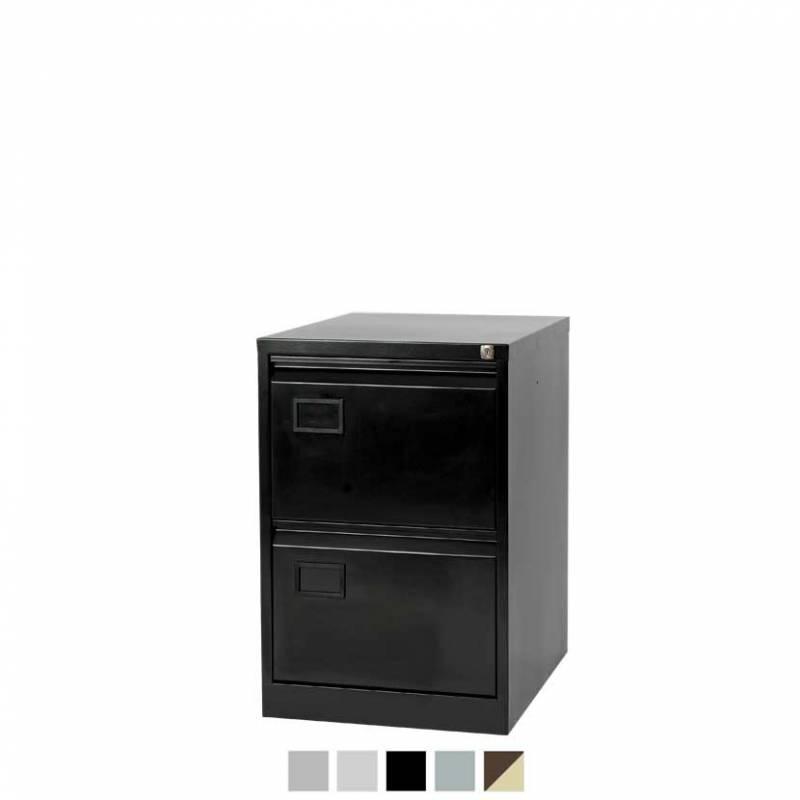 2 drawer black filing cabinet