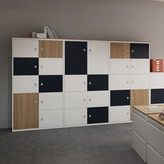 A wall of storage lockers with brown, black and white doors