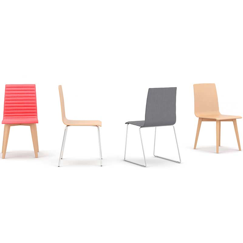 Four bistro chairs in different colours