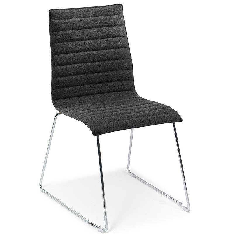 Black ribbed fabric chair with chrome legs