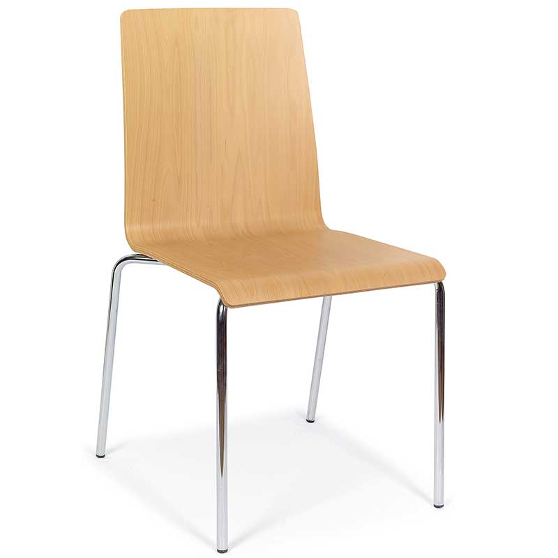 Wooden chair with chrome legs