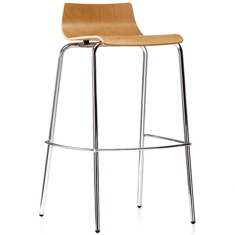 Wooden bistro stool with chrome legs