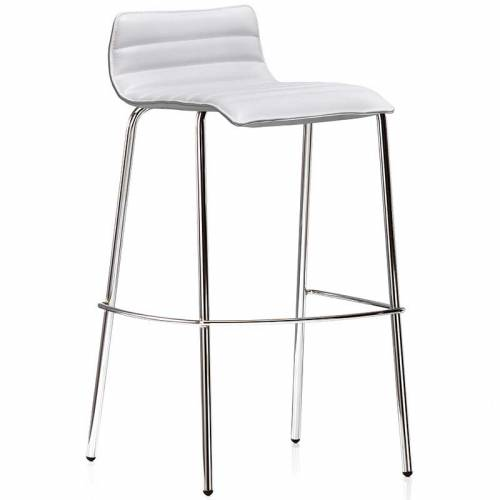 White bistro stool with chrome legs