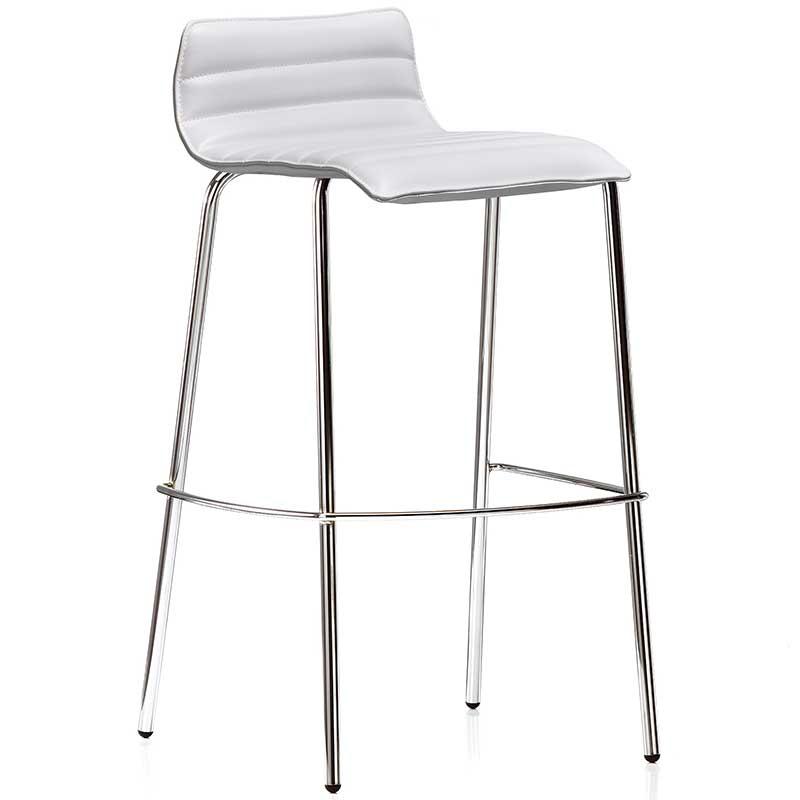 White bistro stool with chrome legs